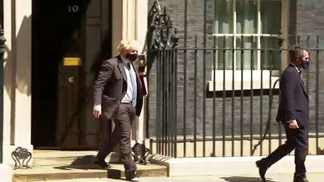 Boris Johnson departs Number 10 Downing Street ahead of PMQs