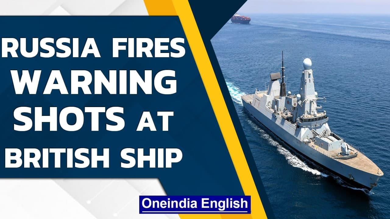 Russian patrol ship & fighter jet reportedly fire warning shots at British warship   Oneindia News