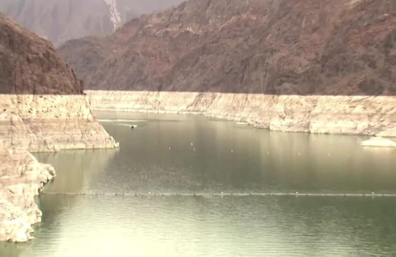 Hoover Dam's Lake Mead at historic low water level
