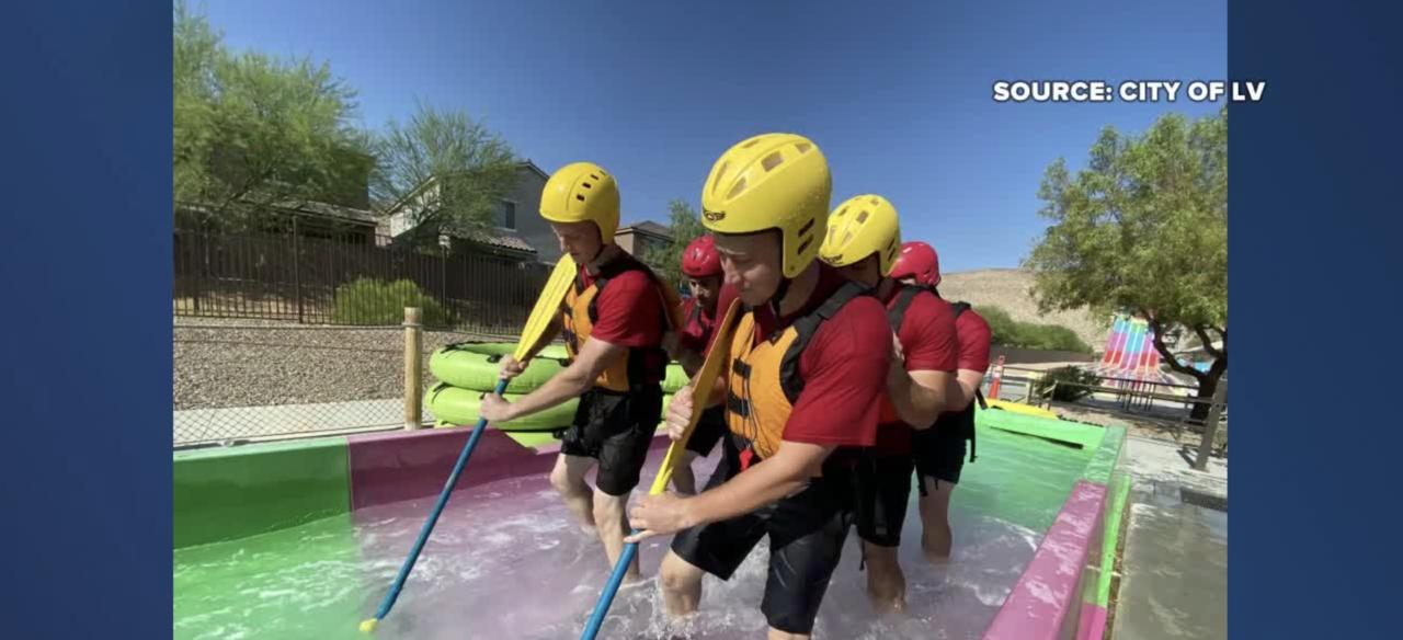 Las Vegas firefighters train for swift water rescues at Wet 'n' Wild water park