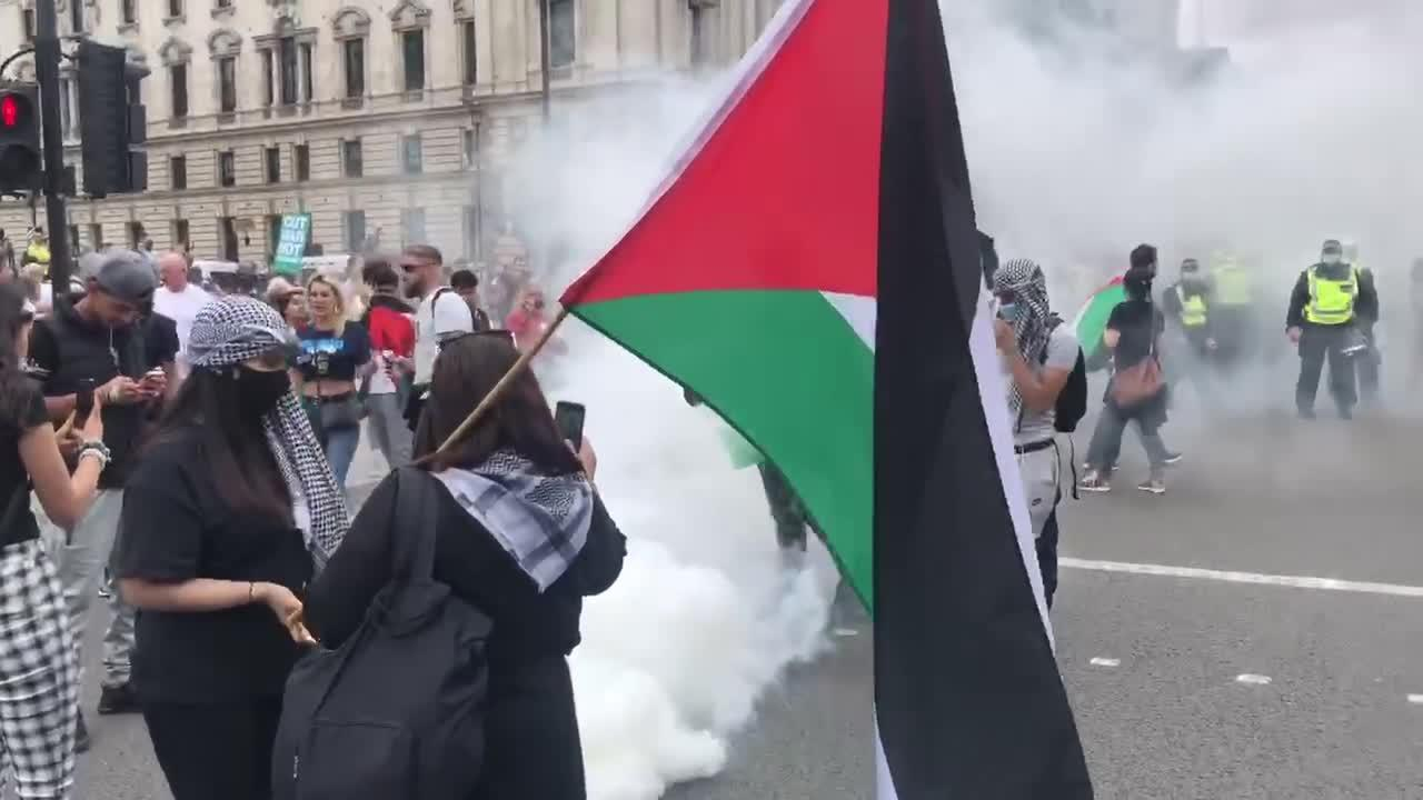 'Free Palestine' protesters pose for photos in smoke bomb cloud outside UK parliament