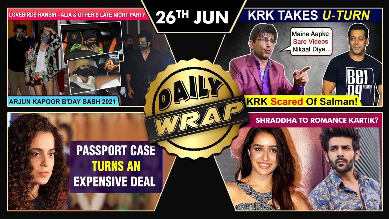 KRK Deletes Salman Videos,Ranbir Alia Attend Arjun's Bday Bash,Shraddha In Kartik's Film|Top 10 News