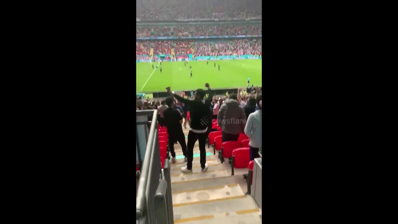Crowd erupts as Raheem Sterling scores goal for England in EURO 2020 win vs. Germany