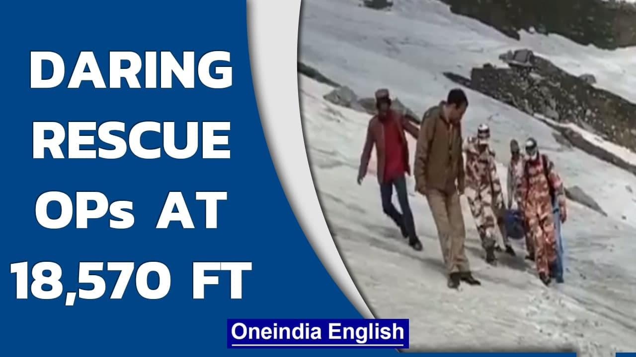 ITBP team risk lives to rescue trekker from high altitude in Himachal Pradesh | Oneindia News