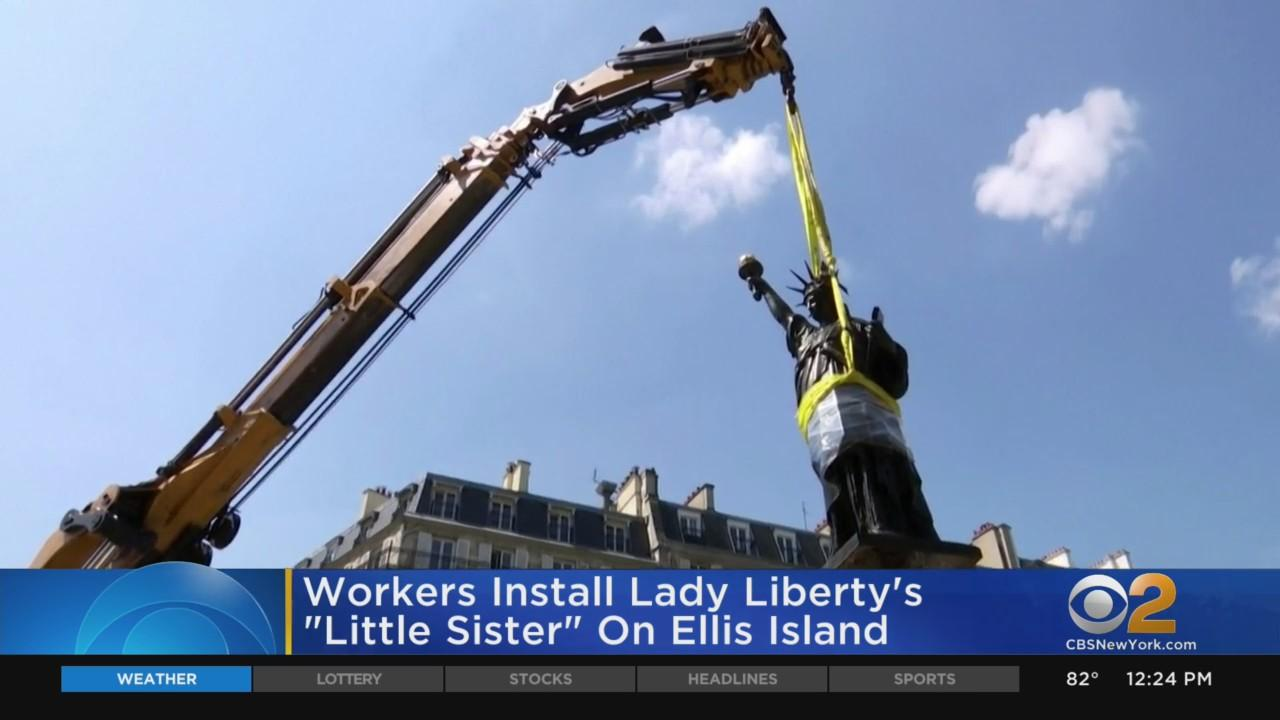 Workers Install Lady Liberty's 'Little Sister' On Ellis Island