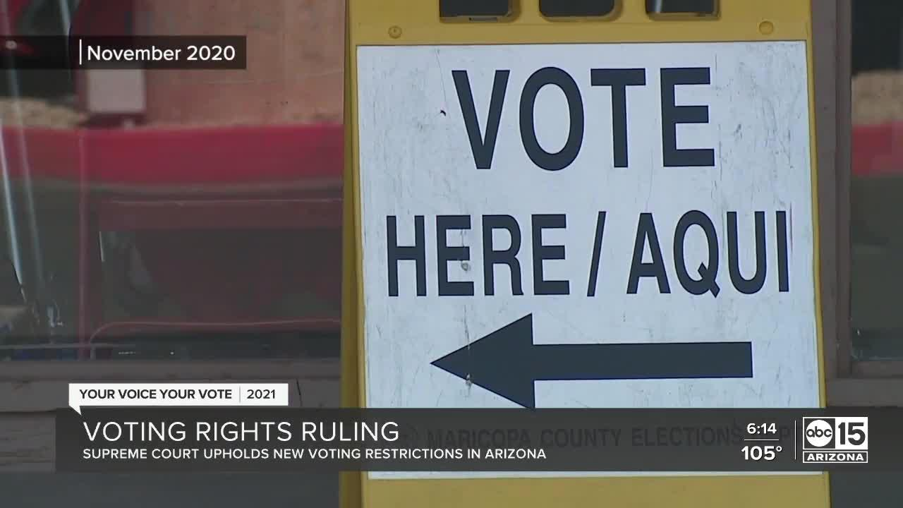 Supreme Court upholds Arizona voting restrictions, ruling they're not discriminatory
