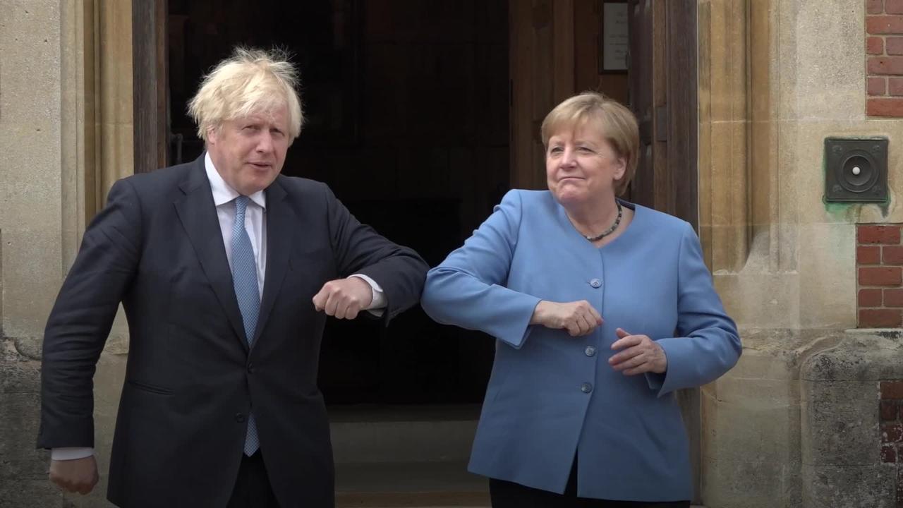 Boris Johnson welcomes German counterpart Angela Merkel to Chequers