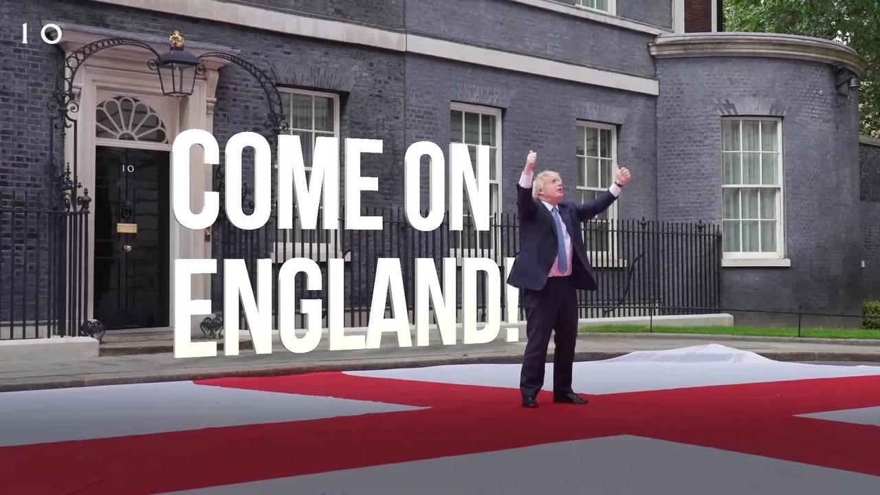 Boris Johnson unveils England flag on Downing Street ahead of Euro 2020 quarter-final clash