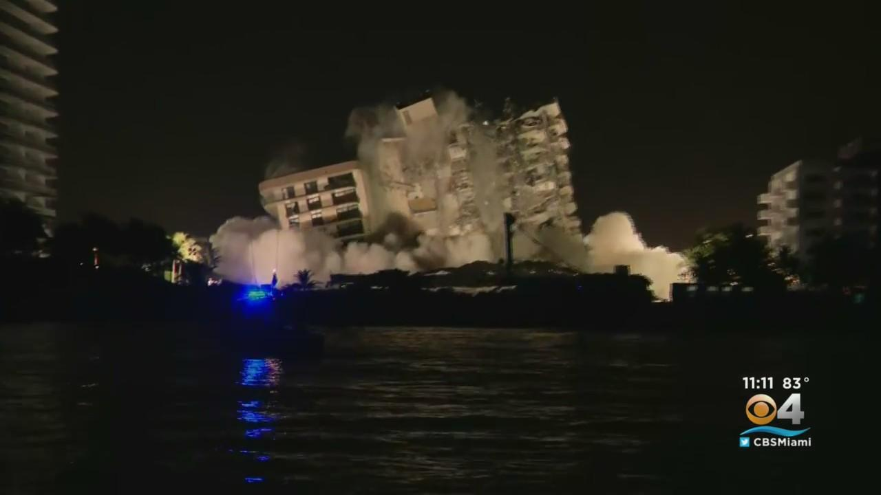 Remaining Part Of Collapsed Surfside Building Demolished Due To Safety Concerns