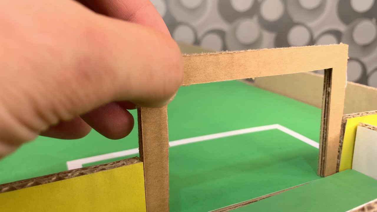 Handy YouTuber made a table football with cardboard and magnets. Here's how he did it