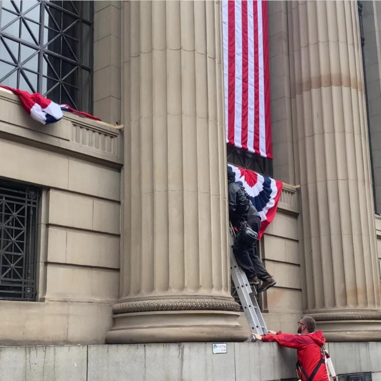 FB Huge American flags mounted on Glasgow city centre buildings for Indiana Jones filming (2)