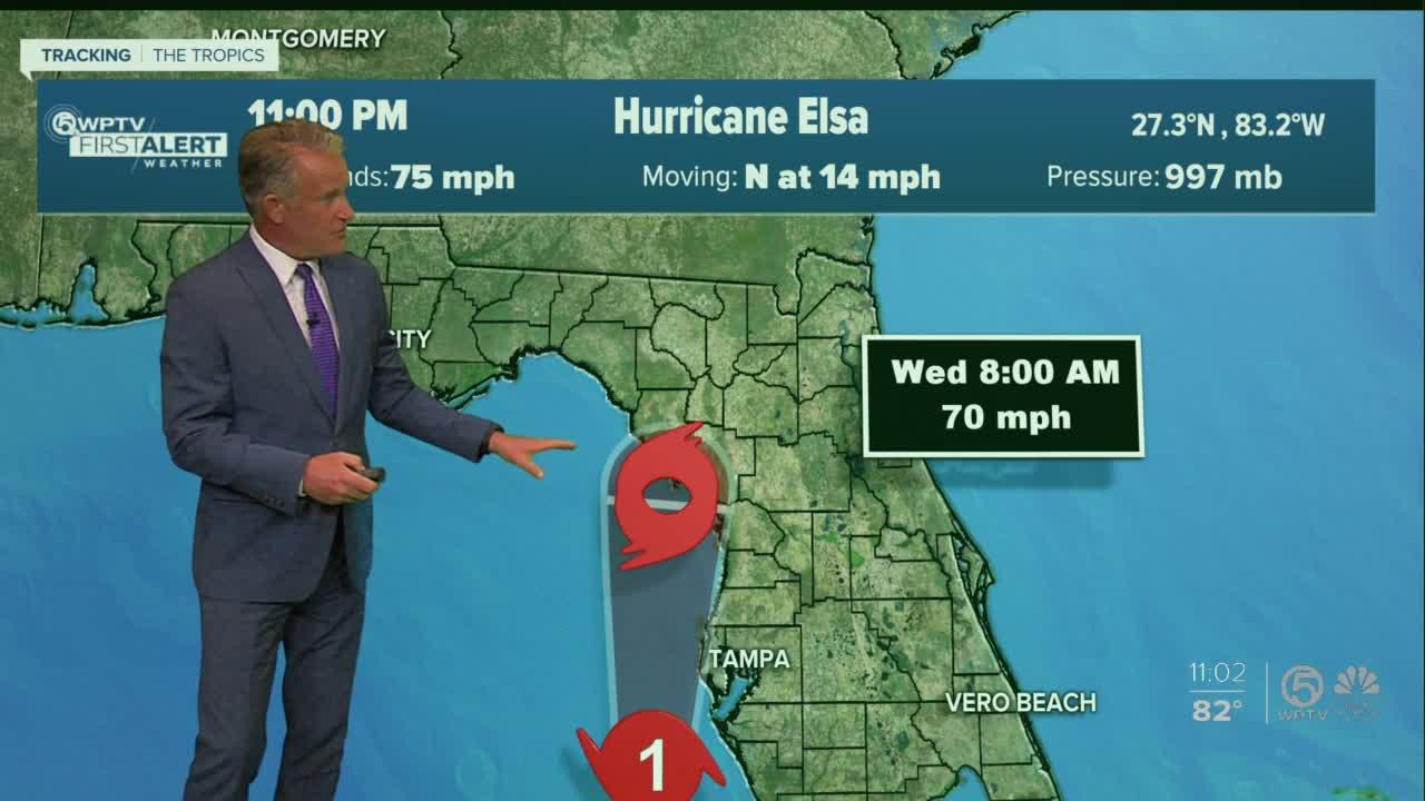 Elsa strengthens back into a Category 1 hurricane; Tornado Watch issued for South Florida, portions of Treasure Coast