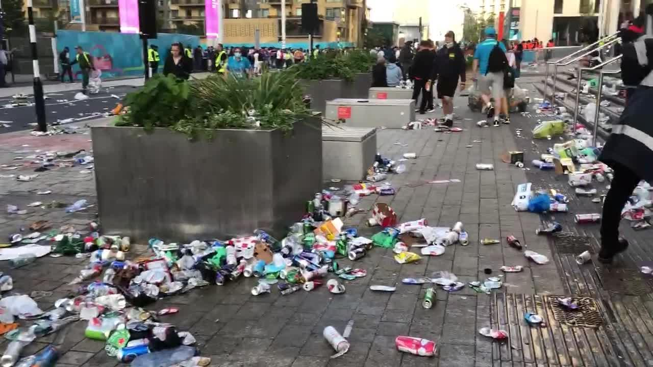 Cleanup begins outside Wembley after massive England fan street party before game
