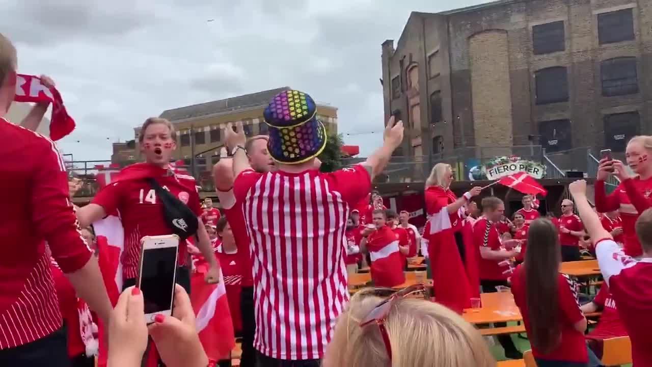 Danish fans in London sing anthem in fan area ahead of England match