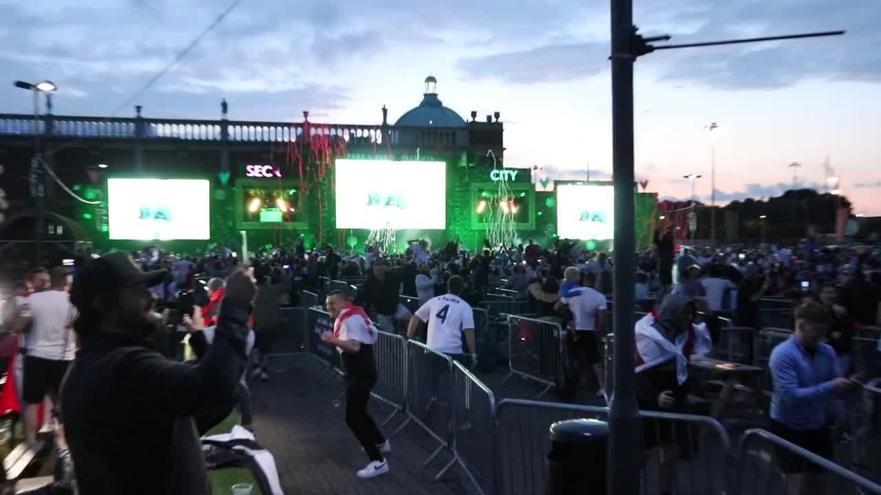 England fans erupt in joy, flair guns go off at '4TheFans' following Euro 2020 win over Denmark