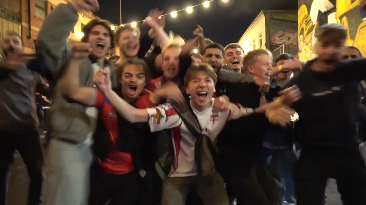 This is how England fans in London celebrated when the Three Lions scored...