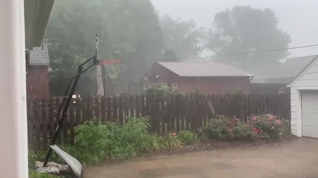 Supercell storm with ball-sized hail strikes Iowa