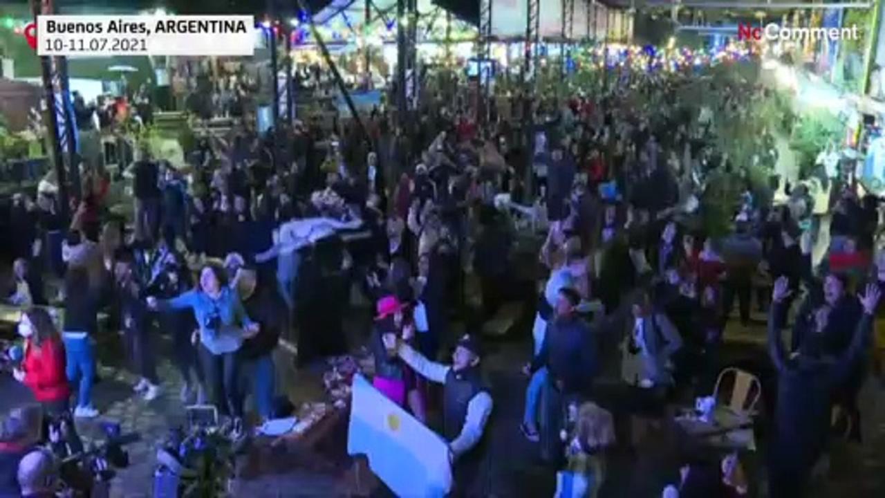 Argentina fans celebrate Copa America triumph outside Maracana