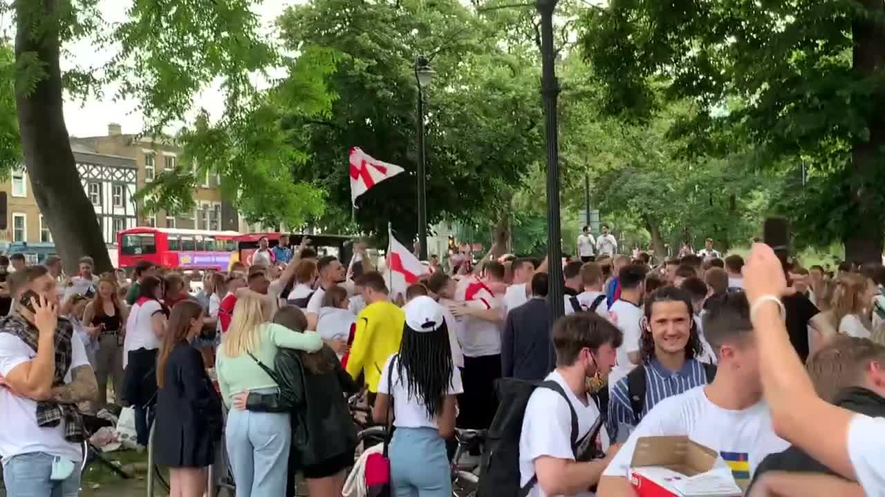 England fans chant and sing in London's Clapham Common ahead of Euro final
