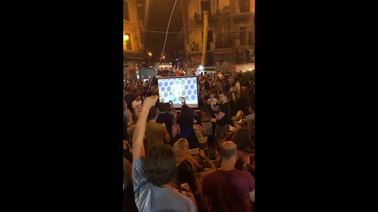 Palermo celebrates Italy's goal against England with vuvuzela trumpets and chants