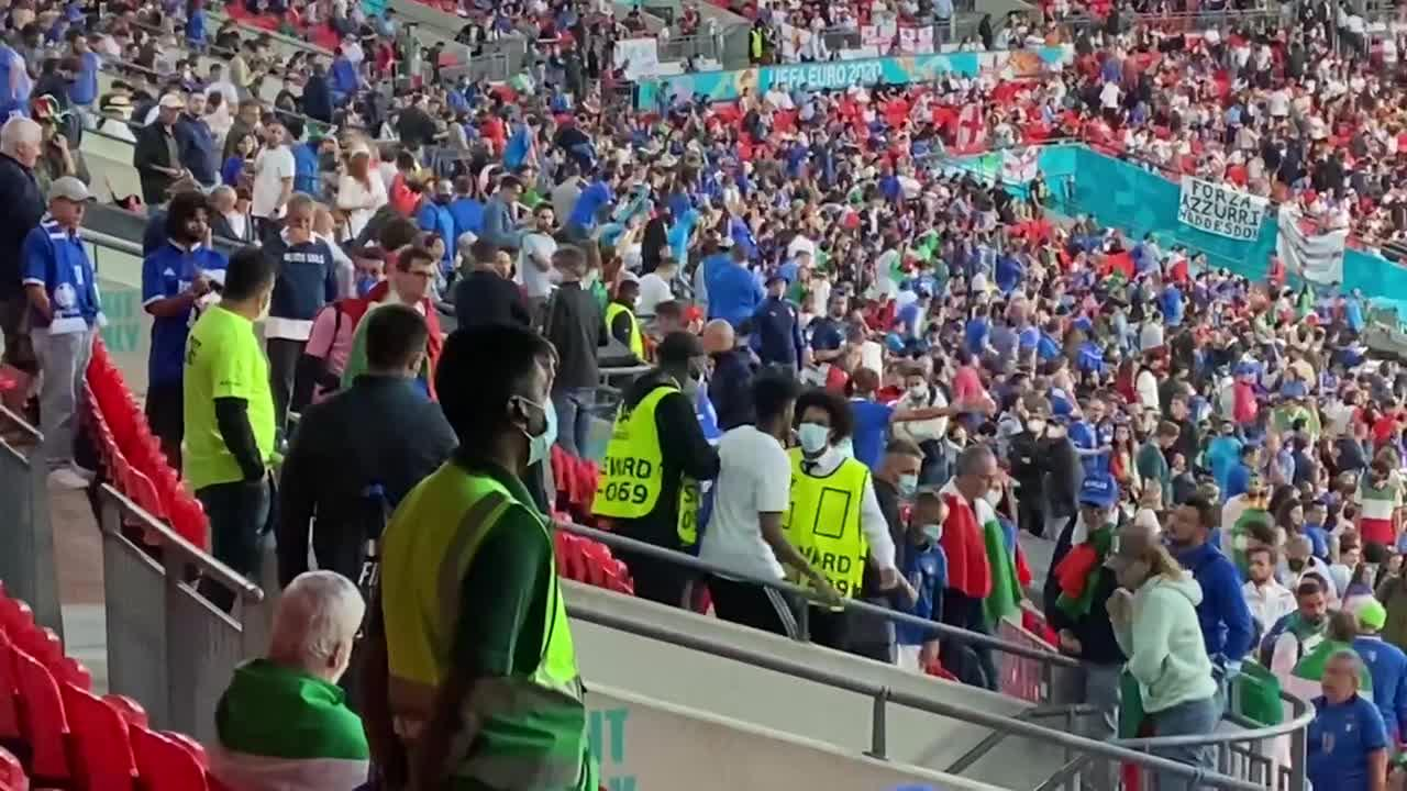 England fan escorted from Wembley stand after entering Euros final without ticket