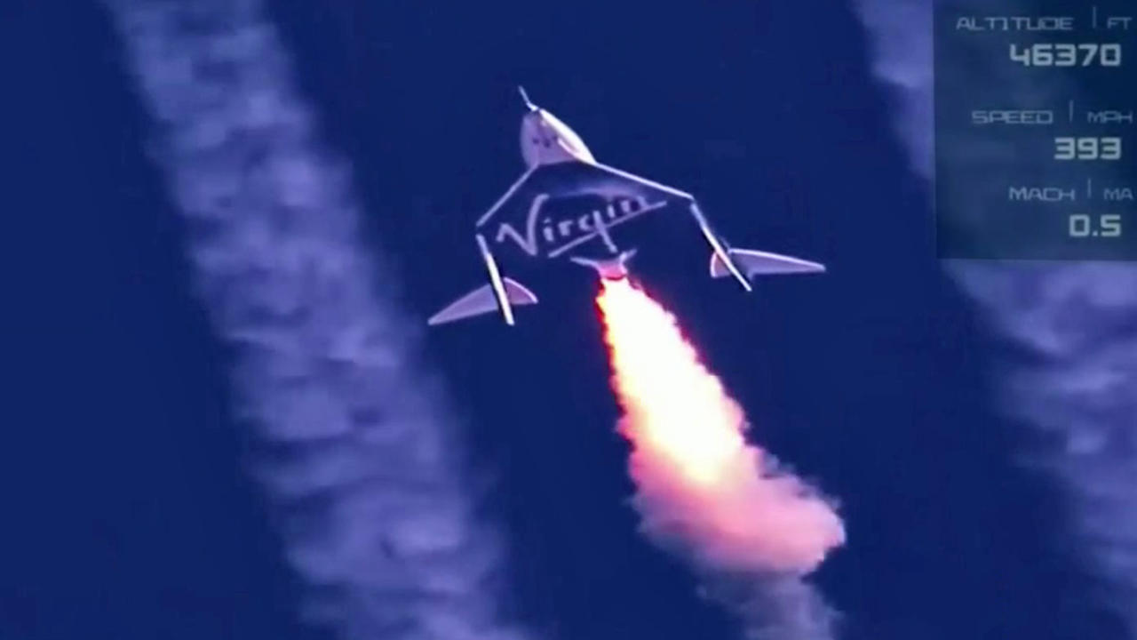 Richard Branson Soars to Space Aboard Virgin Galactic Rocket Plane