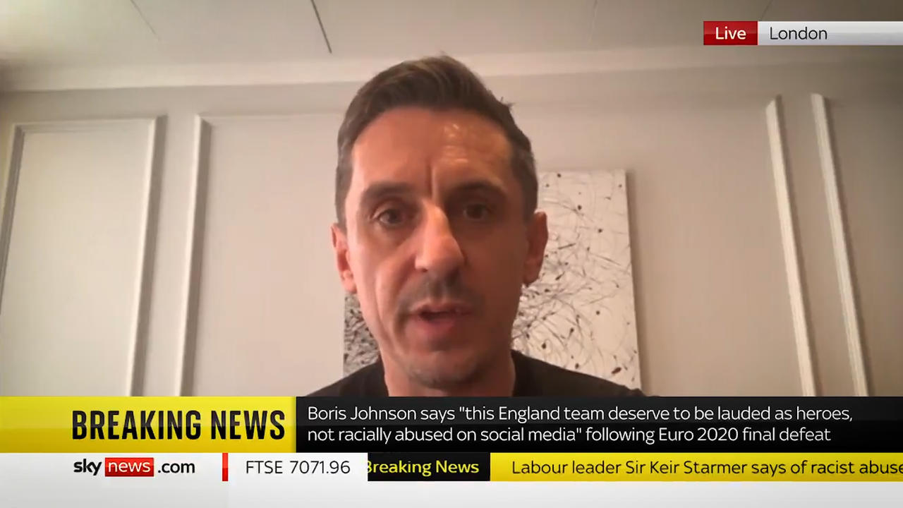 Gary Neville criticises Boris Johnson after racist abuse of England players