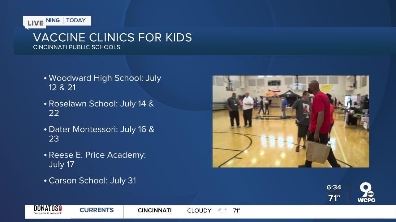 Cincinnati Public Schools hold vaccine clinics for eligible children, teens in July