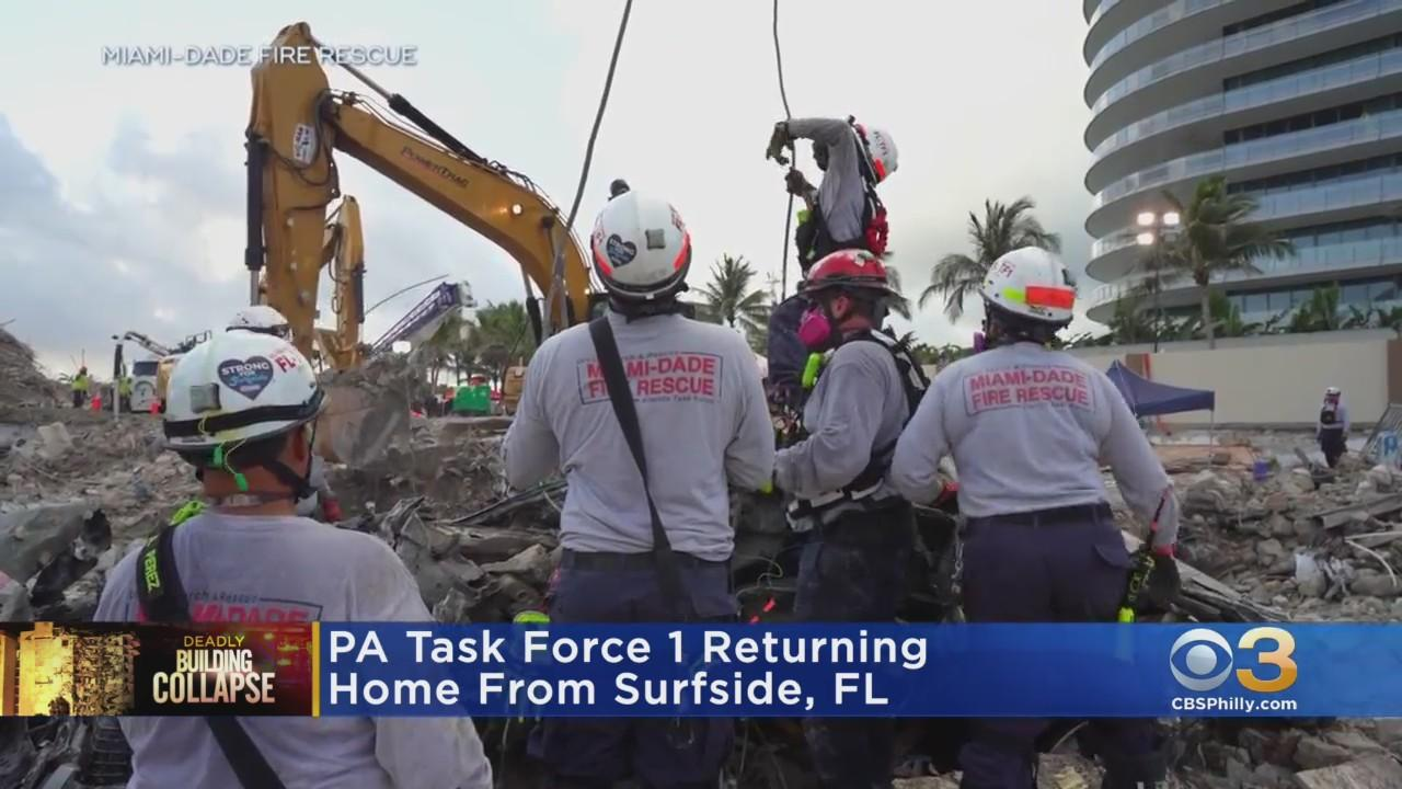 PA Task Force 1 Returning Home After Assisting In Surfside Condo Collapse Rescue