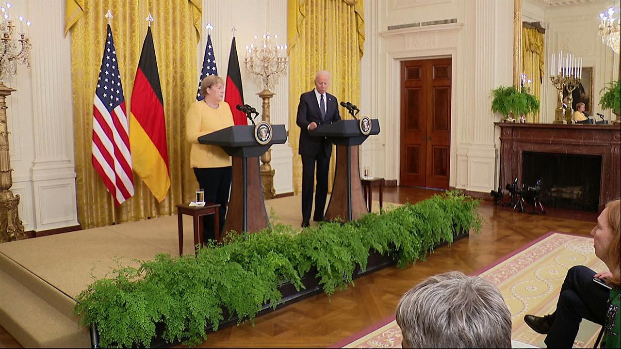Joe Biden bids Angela Merkel farewell as he hosts the German chancellor for the final time