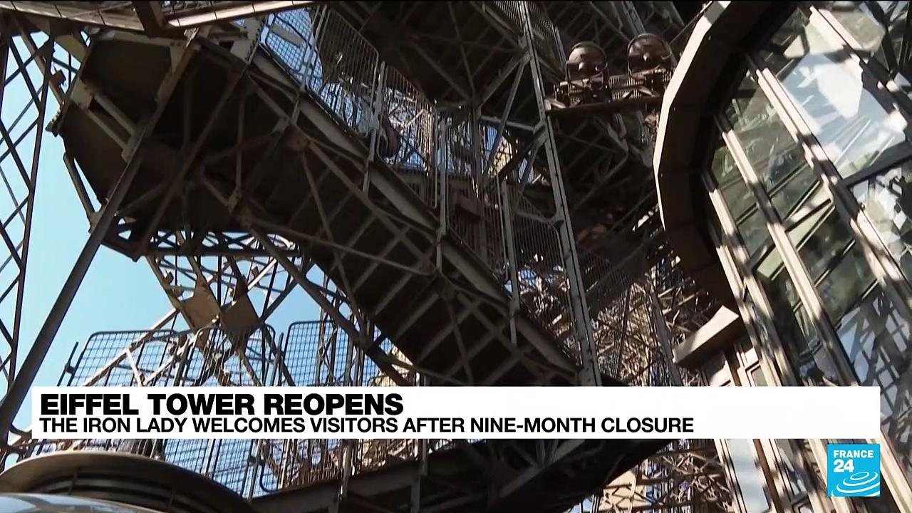 Eiffel Tower reopens in Paris after nine-month Covid closure