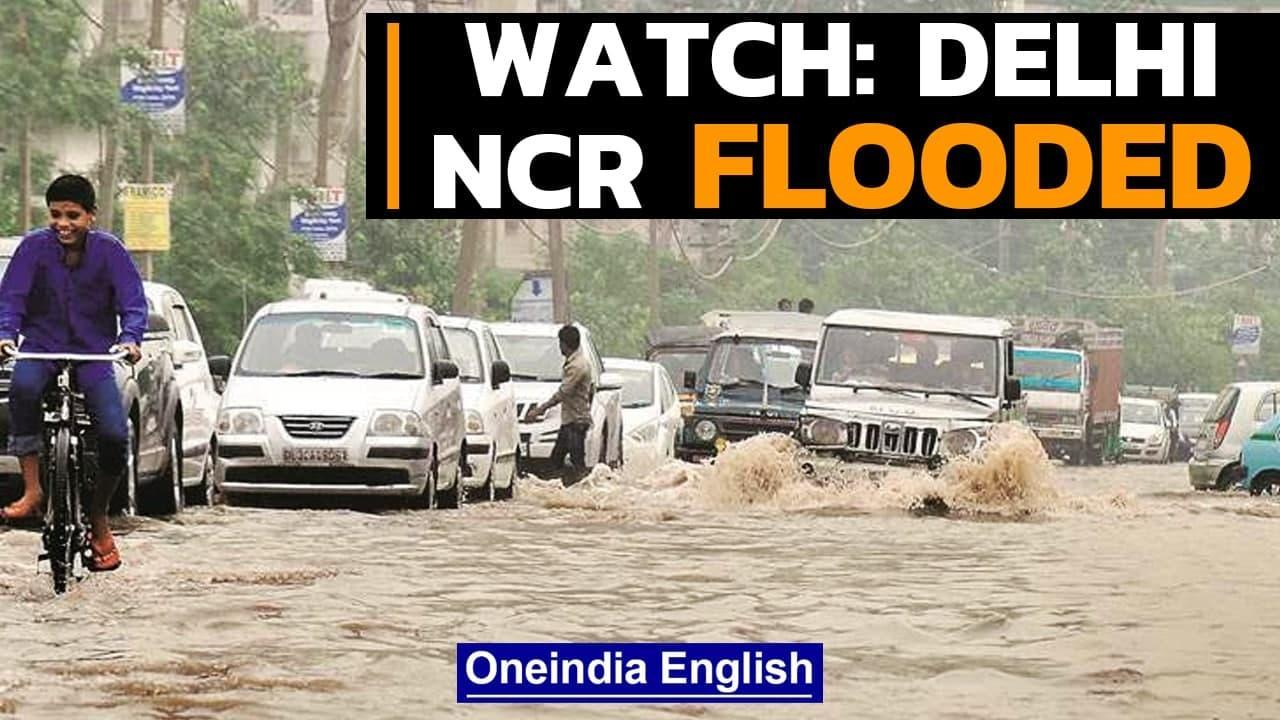 Delhi-NCR particularly Gurugram receives heavy rain leading to waterlogging | Watch | Oneindia News