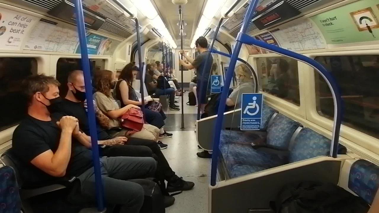 Commuters around England mostly masked on public transport