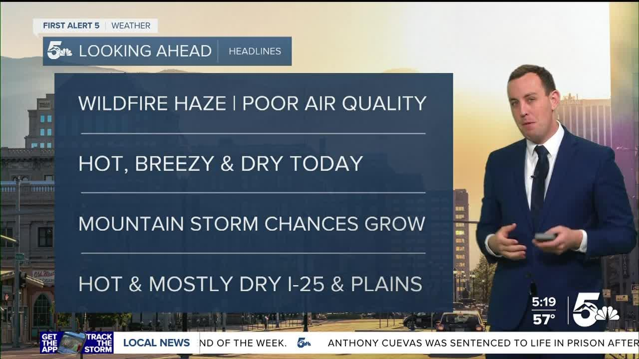 Another hot and hazy day with scattered storms over the Continental Divide