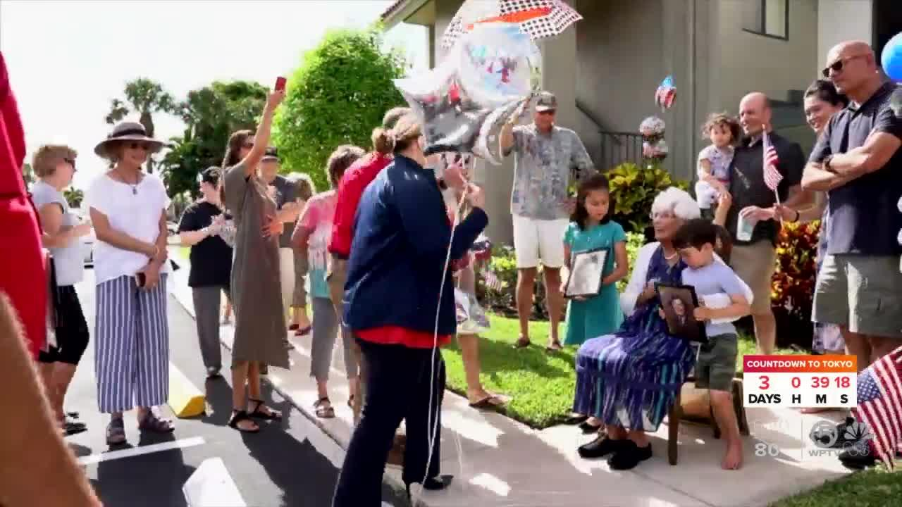 101-year-old World War II nurse surprised with birthday parade