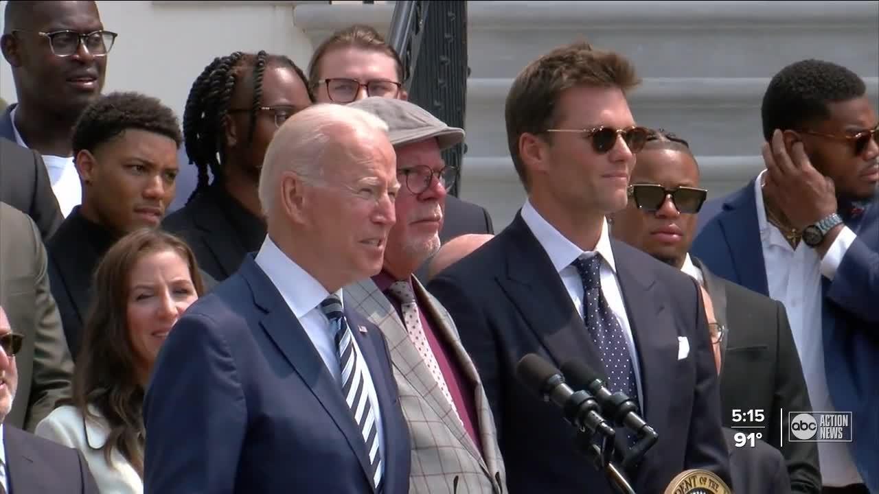 Super Bowl Champion Buccaneers visit White House, joke with President Biden