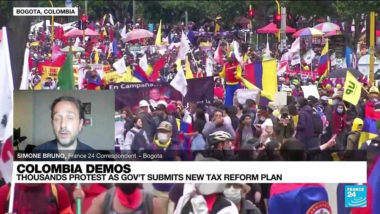 Thousands protest as Colombia government submits new tax reform plan