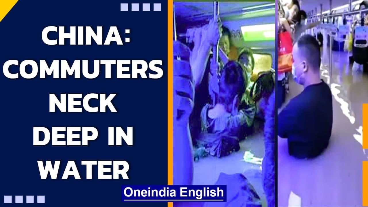 China: Metro commuters in neck deep water | Shocking videos emerge | Oneindia News