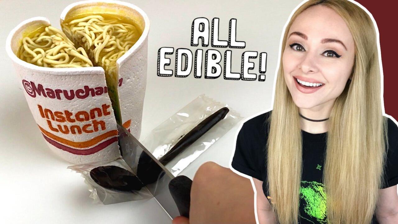 Inspiring 'Instant Ramen' cake with 100% edible plastic spoon