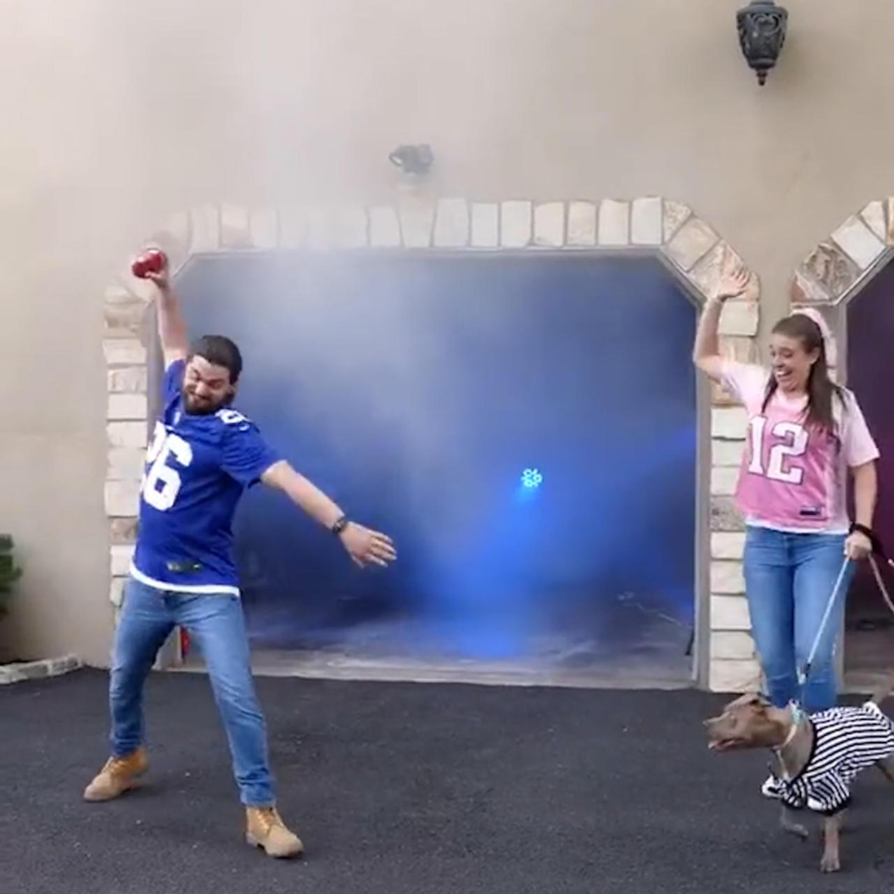 Couple holds football-themed gender reveal