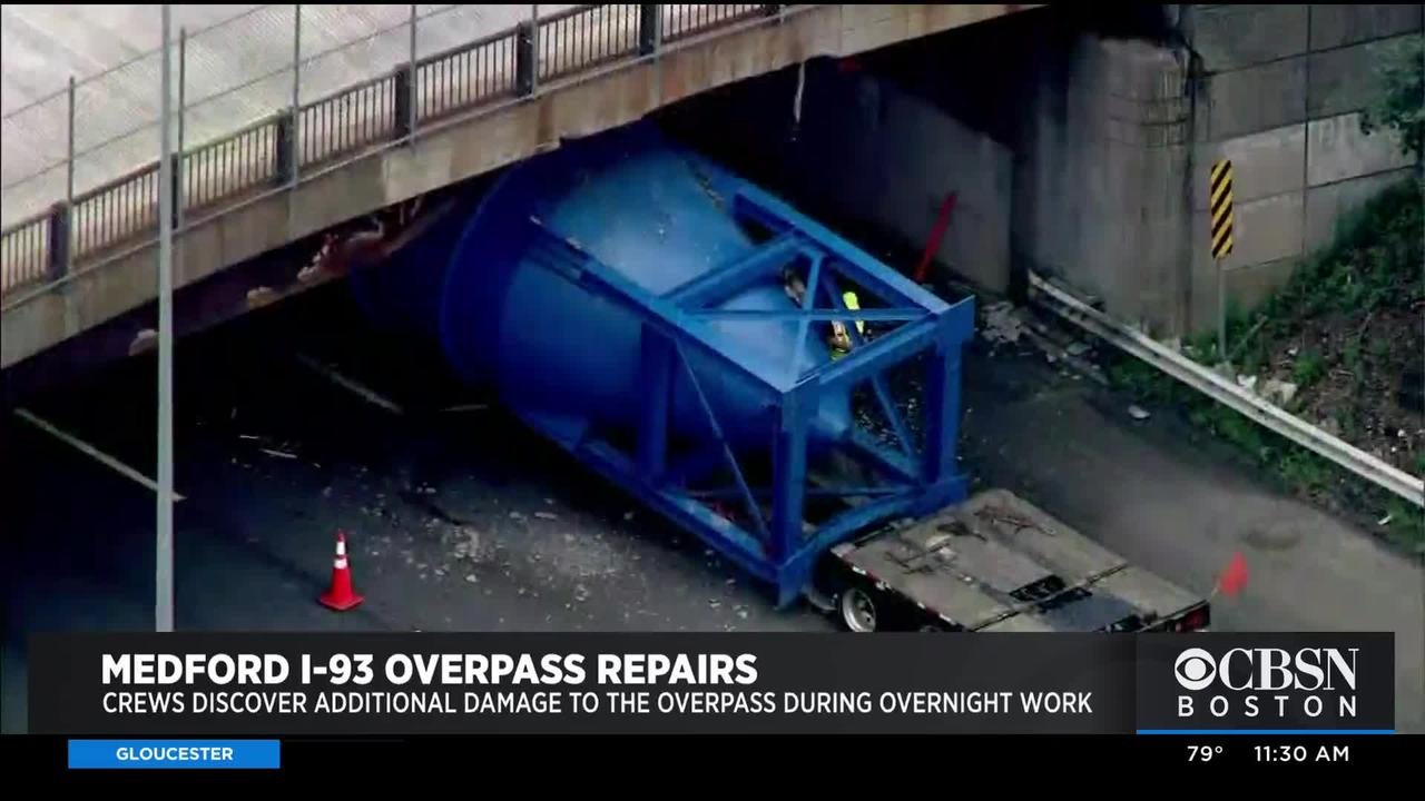 Crews Discover Additional Damage To The Medford I-93 Overpass During Overnight Work