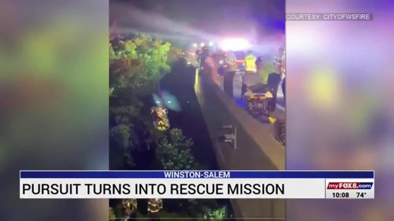 North Carolina police pursuit turns into lifesaving rescue when suspect jumps in river