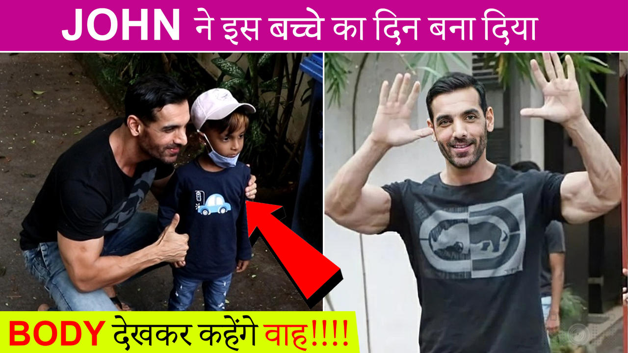 John Abraham FLEXES His Muscles, Poses With A Cute Kid   Unbelievable Transformation Video