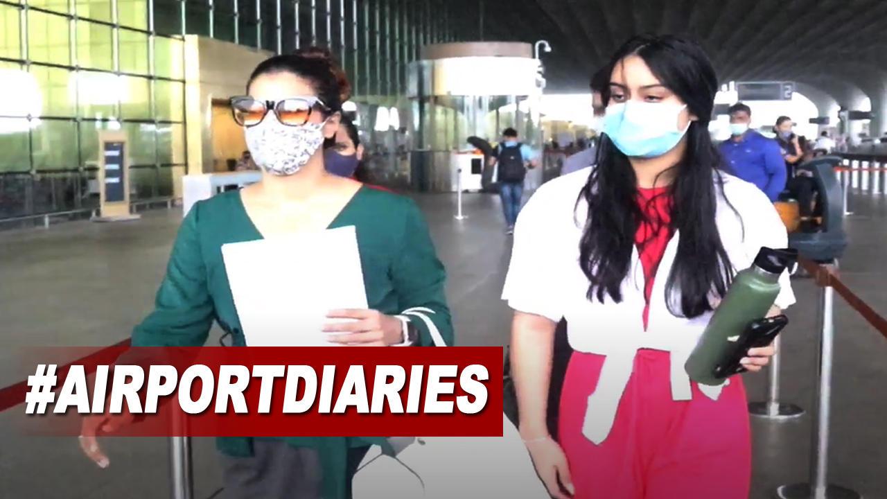 Kajol spotted with daughter Nysa at Mumbai airport