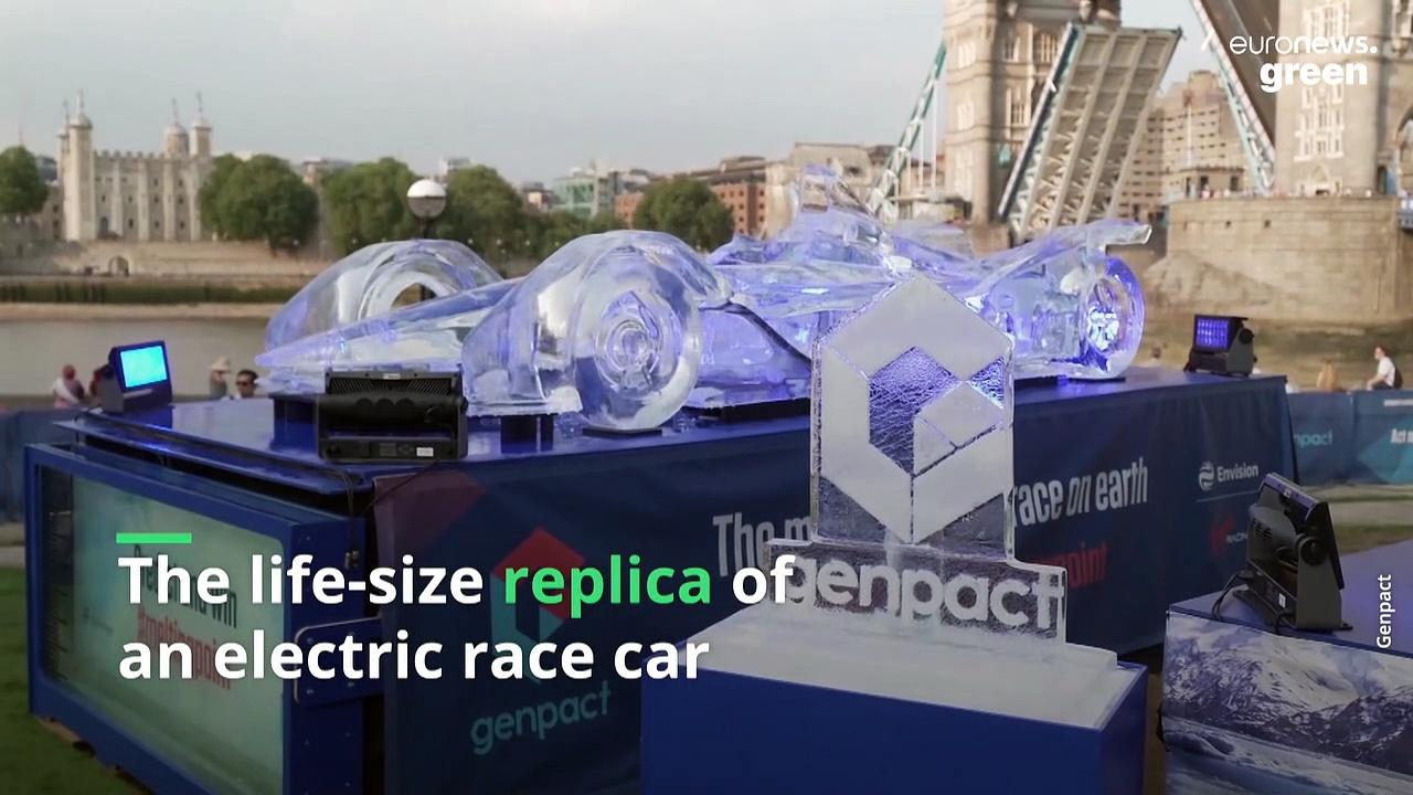 Why is a Formula 1 car made out of ice melting on the streets of London?