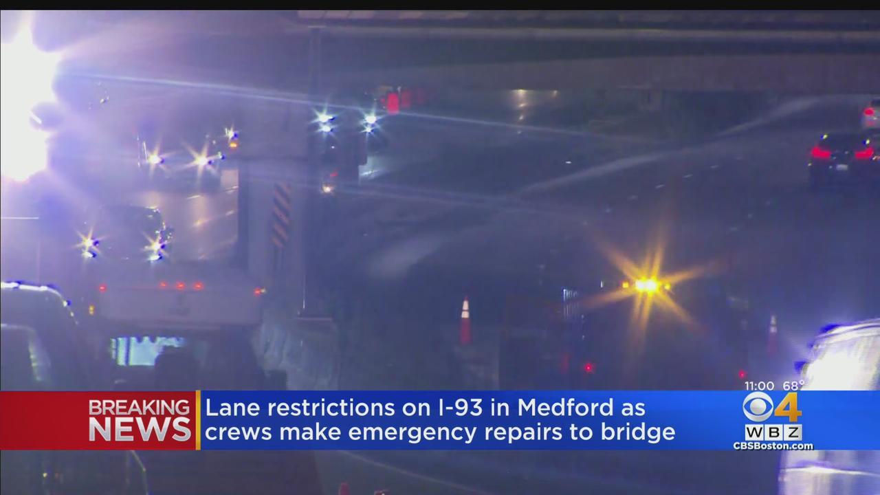 Southbound Lanes Of I-93 Closed In Medford For Bridge Repair