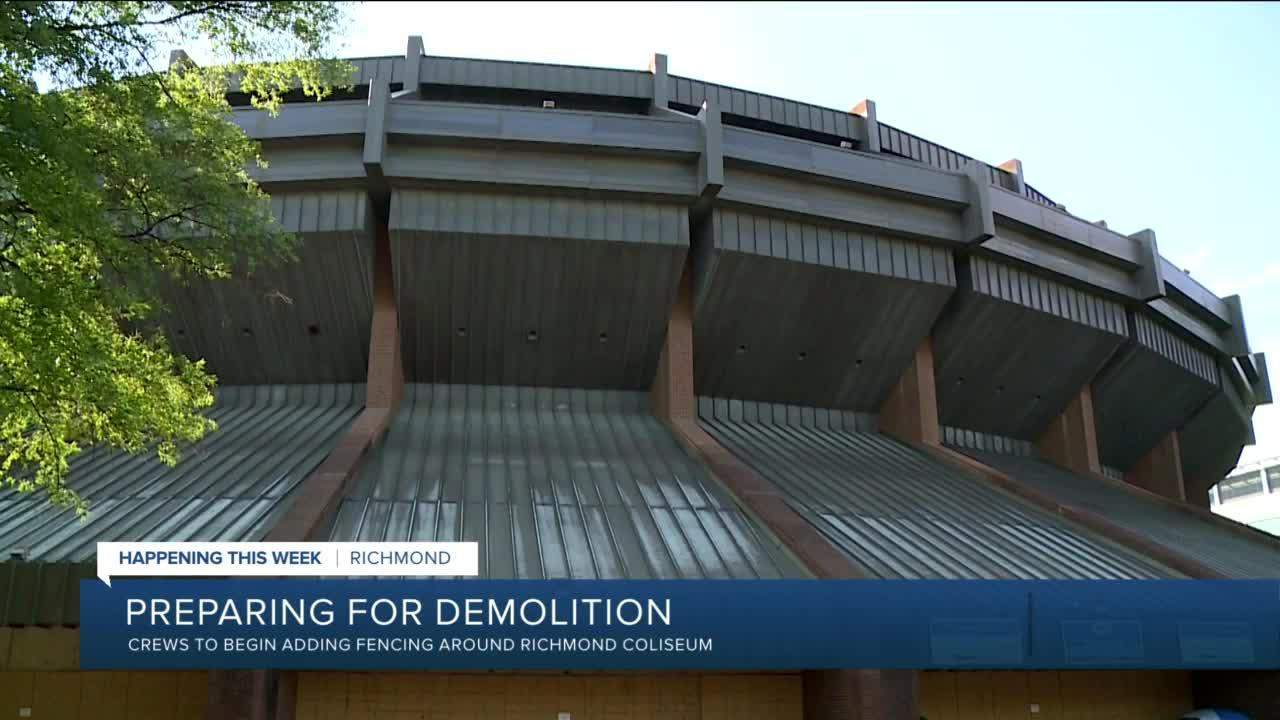 Preparing for demolition of the Richmond Coliseum