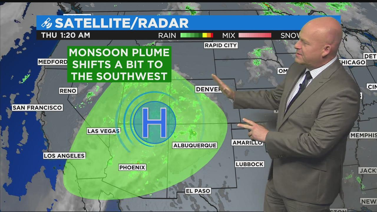 Monsoon Storms Will Focus Over Western Colorado Thursday