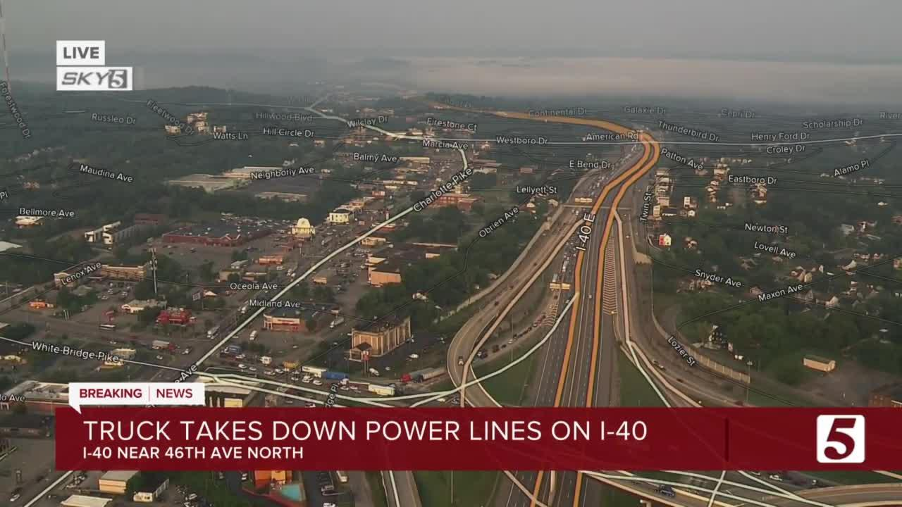 I-40 closed near White Bridge Pike after truck hits power pole