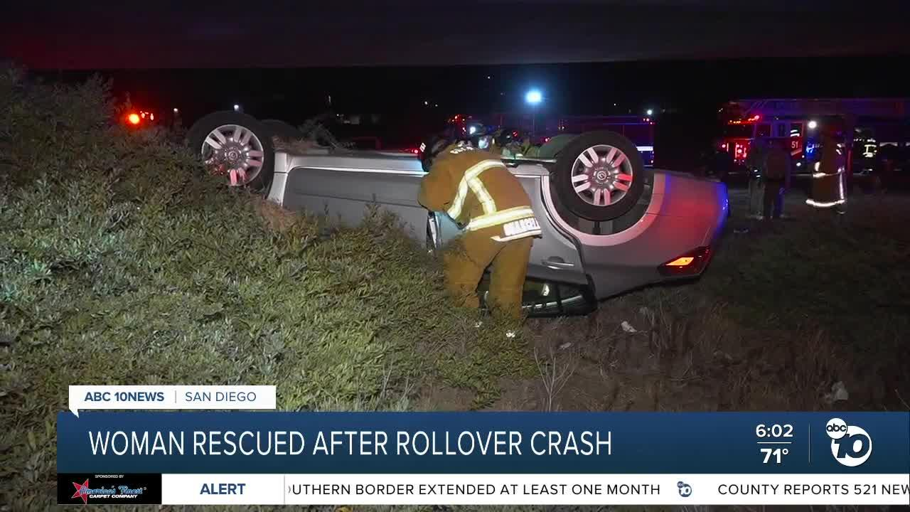 Woman rescued after rollover crash in South Bay
